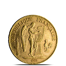 French Gold Angel 20 Franc AGW .1867 oz - Almost Uncirculated (Random Year)