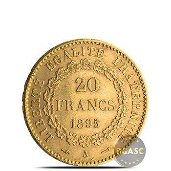 French Gold Angel 20 Franc AGW .1867 oz - Circulated Random Year - Image