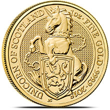 2018 1 oz Gold British Queen's Beasts Bullion Coin - The Unicorn of Scotland