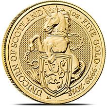 2018 1 oz Gold British Queen's Beasts Bullion Coin - The Unicorn of Scotland