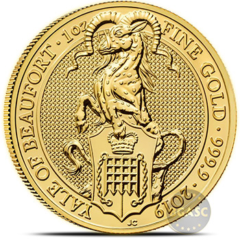 2019 1 oz Gold British Queen's Beasts Bullion Coin - The Yale of Beaufort - Image