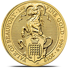 2019 1 oz Gold British Queen's Beasts Bullion Coin - The Yale of Beaufort
