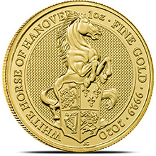 2020 1 oz Gold British Queen's Beasts Bullion Coin - The White Horse of Hanover