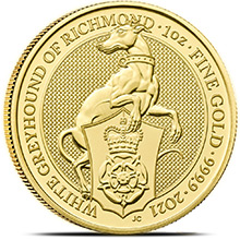 2021 1 oz Gold British Queen's Beasts Bullion Coin - The White Greyhound of Richmond