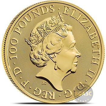 2021 1 oz Gold British Queen's Beasts Bullion Coin - The White Greyhound of Richmond
