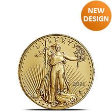 2021 1/10 oz Gold American Eagle $5 Coin Bullion Brilliant Uncirculated - Type 2, New Design
