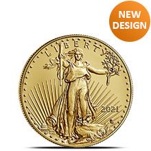 2021 1/4 oz Gold American Eagle $10 Coin Bullion Brilliant Uncirculated - Type 2, New Design