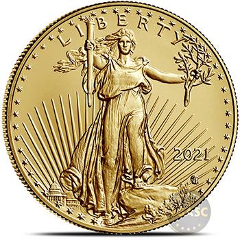 2021 1 oz Gold American Eagle $50 Coin Bullion Brilliant Uncirculated - Type 2, New Design