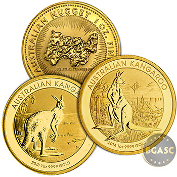 Australia 1 oz Gold Kangaroo/Nugget .9999 Fine Brilliant Uncirculated Coin (Random Year)