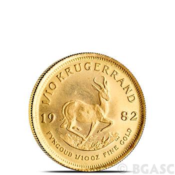 1/10 oz Gold Krugerrand - South African Bullion Coin Brilliant Uncirculated (Random Year)