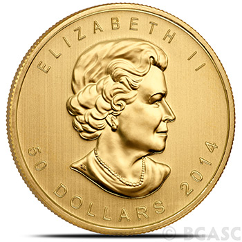 2014 1 oz Gold Canadian Maple Leaf Bullion Coin Brilliant Uncirculated Gem .9999 Fine 24kt Gold - Image