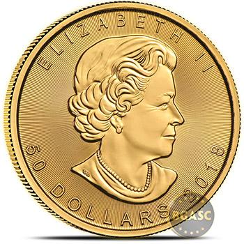 2018 1 oz Gold Canadian Maple Leaf Bullion Coin Brilliant Uncirculated .9999 Fine 24kt Gold - Image