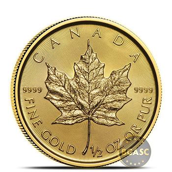 2019 1/2 oz Canadian Gold Maple Leaf Brilliant Uncirculated .9999 Fine 24kt