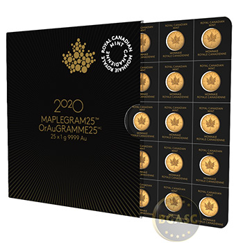 2020 Gold Maplegram25™ Sealed Coin Sheet in Assay Sleeve - 25x1 gram Canadian Maple Leaf Coins .9999 Fine 24kt