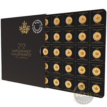 2021 Gold Maplegram25™ Sealed Coin Sheet in Assay Sleeve - 25x1 gram Canadian Maple Leaf Coins .9999 Fine 24kt