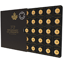 2021 Gold Maplegram25™ Sealed Coin Sheet in Assay Sleeve - 25x1 gram Canadian Maple Leaf Coins .9999 Fine 24kt