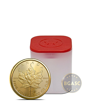 2021 1 oz Gold Canadian Maple Leaf Bullion .9999 Fine BU (Tube of 10 Coins)
