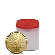 2021 1 oz Gold Canadian Maple Leaf Bullion .9999 Fine BU (Tube of 10 Coins)