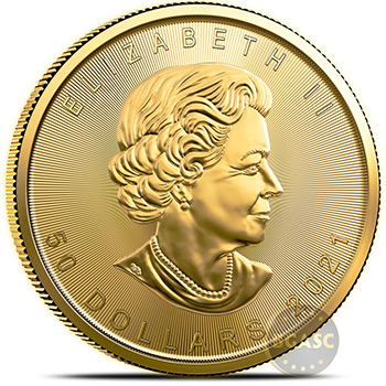 2021 1 oz Gold Canadian Maple Leaf Bullion .9999 Fine BU Tube of 10 Coins