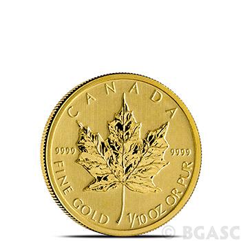 1/10 oz Canadian Gold Maple Leaf - Brilliant Uncirculated .9999 Fine 24kt (Random Year)
