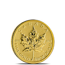 1/10 oz Canadian Gold Maple Leaf - Brilliant Uncirculated .9999 Fine 24kt (Random Year)