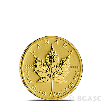 1/20 oz Canadian Gold Maple Leaf - Brilliant Uncirculated .9999 Fine 24kt (Random Year)