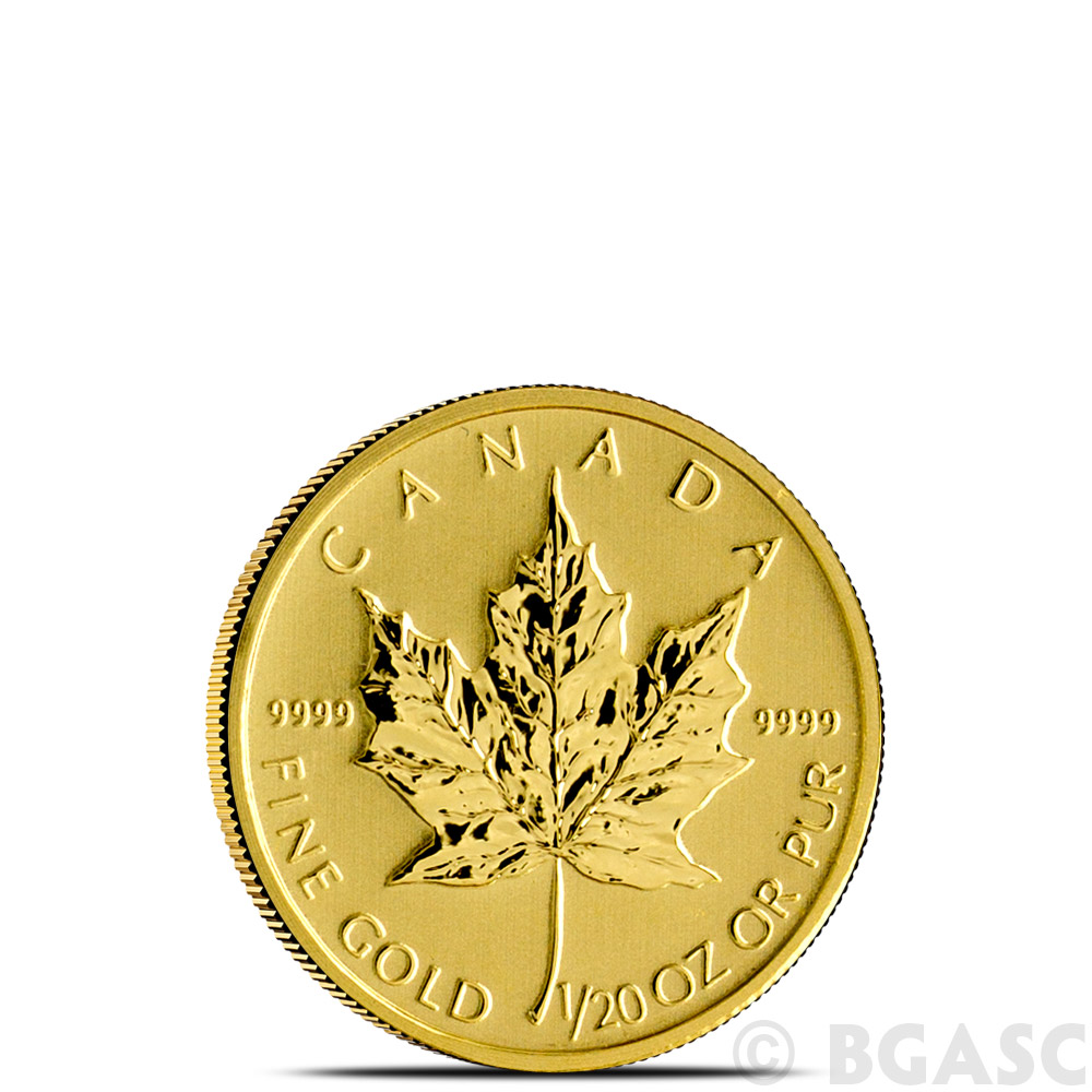 1/20 oz Canadian Gold Maple Leaf - Brilliant Uncirculated  9999 Fine 24kt  (Random Year)