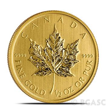 1/2 oz Canadian Gold Maple Leaf - Brilliant Uncirculated .9999 Fine 24kt (Random Year)