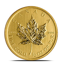 1/2 oz Canadian Gold Maple Leaf - Brilliant Uncirculated .9999 Fine 24kt (Random Year)