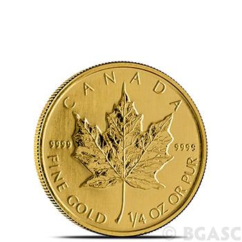1/4 oz Canadian Gold Maple Leaf - Brilliant Uncirculated .9999 Fine 24kt (Random Year)