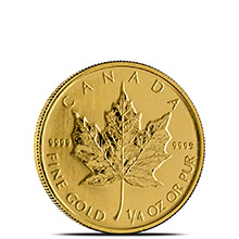 1/4 oz Canadian Gold Maple Leaf - Brilliant Uncirculated .9999 Fine 24kt (Random Year)