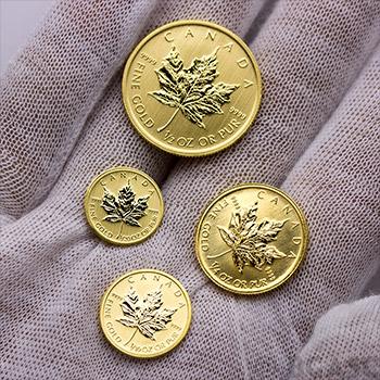 Canadian Gold Maple Leaf 1/4 oz - Dates Our Choice Brilliant Uncirculated Gem .9999 Fine 24kt Gold - Image