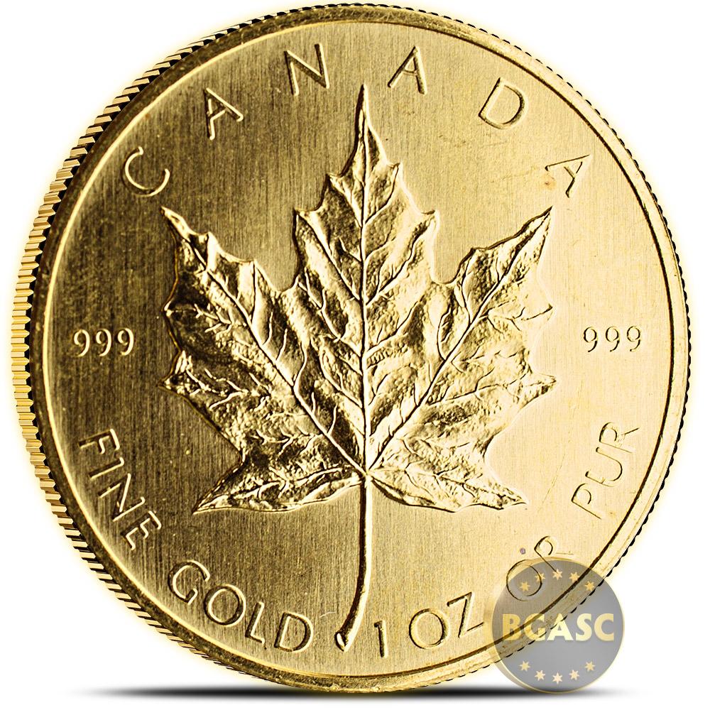 1 oz Gold Canadian Maple Leaf Bullion Coin Brilliant Uncirculated  999 Fine  (Random Year 1979 - 1982)