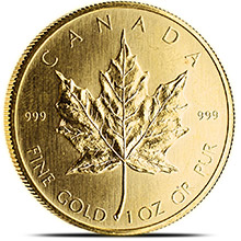 1 oz Gold Canadian Maple Leaf Bullion Coin Brilliant Uncirculated .999 Fine (Random Year 1979 - 1982)