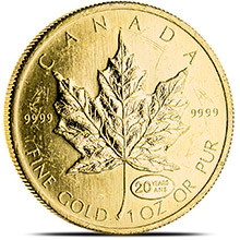 1 oz Canadian Gold Maple Leaf - Circulated / Scuffed .9999 Fine 24kt (Random Year)