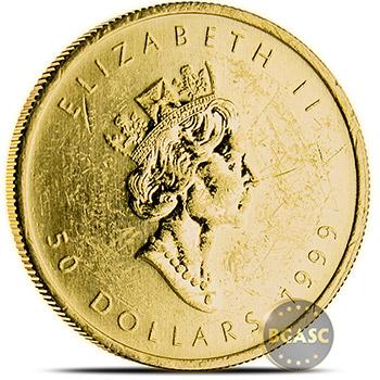 1 oz Canadian Gold Maple Leaf - Circulated Scuffed .9999 Fine 24kt Random Year - Image