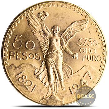 Mexico Gold 50 Pesos Centenario AGW 1.2057 oz - Circulated (Random Year)