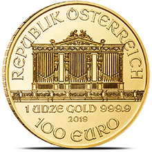 2019 1 oz Austrian Gold Philharmonic Bullion Brilliant Uncirculated .9999 Fine 24kt Gold