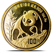 1 oz 1990 Chinese Gold Panda Coin 100 Yuan Brilliant Uncirculated - Large Date (Mint Sealed)