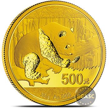 30 gram 2016 Chinese Gold Panda Coin 500 Yuan Brilliant Uncirculated