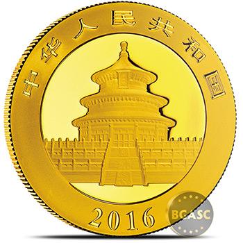 2016 30 gram Chinese Gold Panda Coin 500 Yuan Brilliant Uncirculated - Image