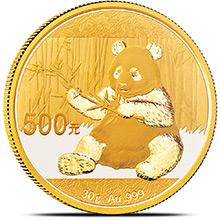 30 gram 2017 Chinese Gold Panda Coin 500 Yuan Brilliant Uncirculated