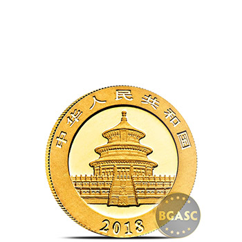 1 gram 2018 Chinese Gold Panda Coin 10 Yuan Brilliant Uncirculated - Image