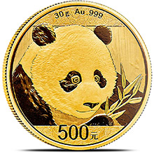 30 gram 2018 Chinese Gold Panda Coin 500 Yuan Brilliant Uncirculated