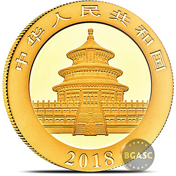 30 gram 2018 Chinese Gold Panda Coin 500 Yuan Brilliant Uncirculated - Image