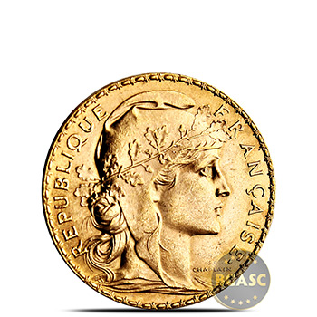 French Gold Rooster 20 Franc AGW .1867 oz - Circulated Random Year - Image