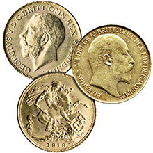 Great Britain Gold Sovereign Coin King Edward & George - Circulated (Random Year 1902-1932)