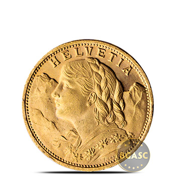 Swiss Gold 20 Franc Helvetia Coin AGW .1867 oz - Almost Uncirculated (Random Year)