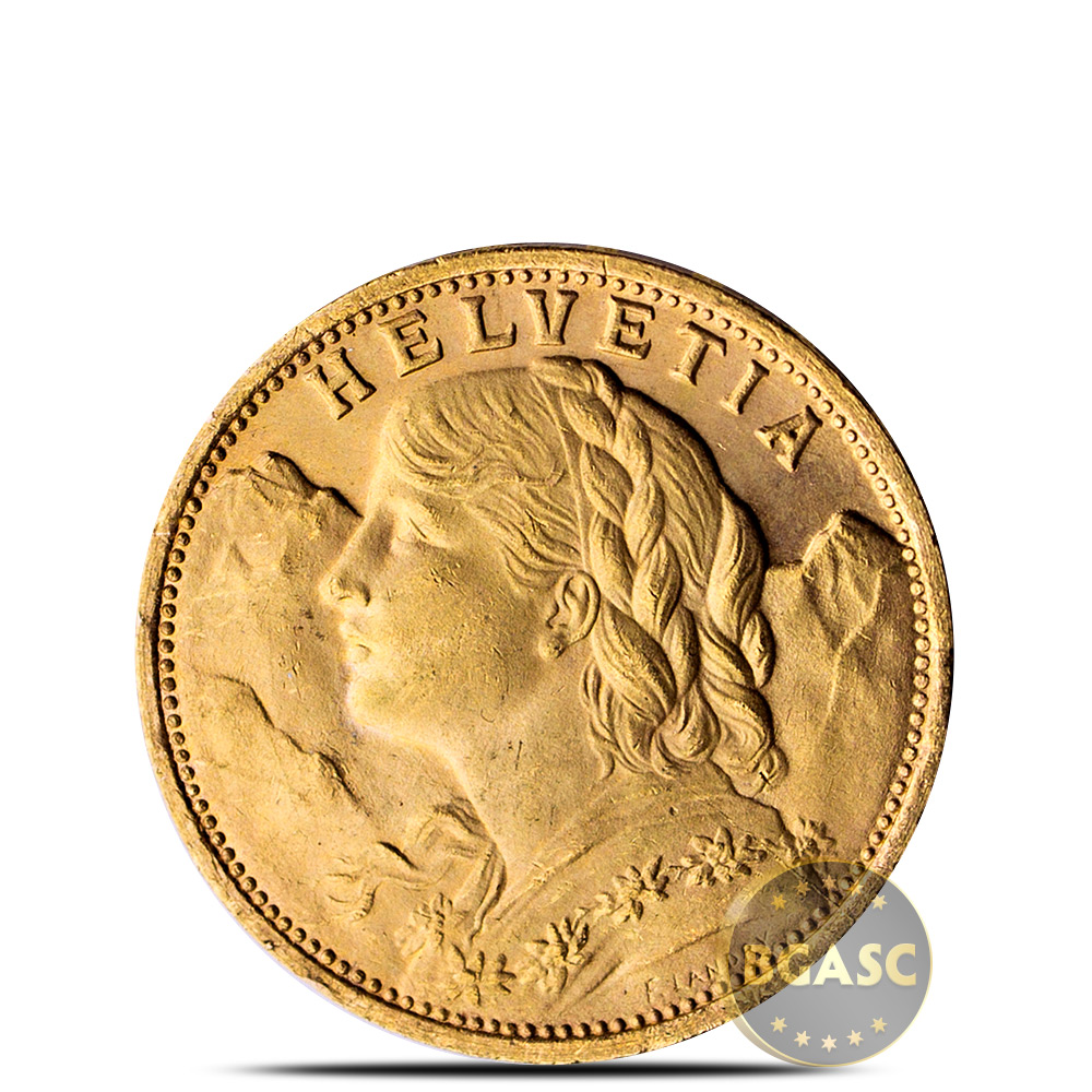 Swiss Gold 20 Franc Helvetia Coin