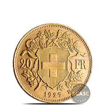 Swiss Gold 20 Franc AGW .1867 oz - Circulated Random Year - Image
